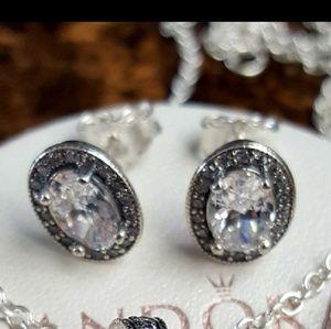Pandora crystal cz stud earrings 925 sterling
